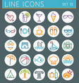 Travel line icons set summer holidays web design vector