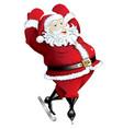 Skating santa in pose isolated vector