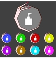 Tower icon flat modern set colourful web buttons vector