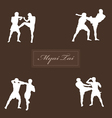 With thai boxers against a dark background vector