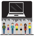 A laptop and a group of people vector