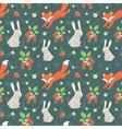 Rabbits and fox seamless pattern vector