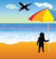Baby holing umbrella on the beach vector