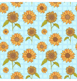 Bright sunflowers floral seamless vector