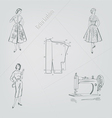 Retro fashion on a gray background vector