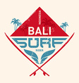 Surfing vintage lable with waves palm and vector