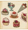 Retro cakes background vector