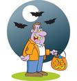 Cartoon zombie in the moonlight vector