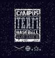 College print baseball team vector