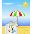 Tray with cold ice cream is on the beach in the ho vector