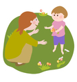A woman talking to a small child vector