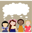4 girls with thinking bubble vector