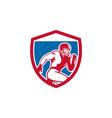 American football player running shield retro vector