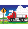 Red truck on the road with signs vector