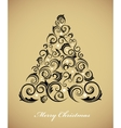 Vintage christmas tree with retro ornaments vector