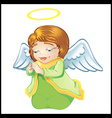 Little angel in green isolated vector