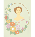 Retro a card the girl in a frame with flowers vector