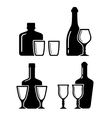 Set alcohol beverage icons with bottle and glass vector