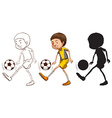 Sketches of a soccer player in different colors vector