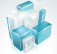 3d glass rectangles abstract background vector
