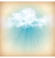 Sunlight rays through clouds background vector