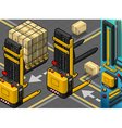 Isometric forklift in two positions vector
