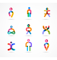 Collection of colorful abstract people vector