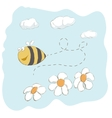 Cute bee flying around flowers vector