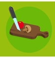 Fresh food menu with tomato and knife with green vector