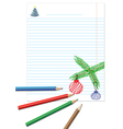 Paper note with colored pencils vector