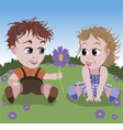 Little boy giving flower to girl vector