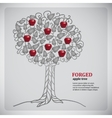 Forged metall tree with red apples vector