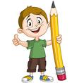 Boy holding pig pencil vector