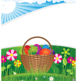 Easter basket on the morning lawn vector