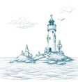 Lighthouse island in the sea sketch vector