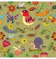 Seamless pattern plants insects vector