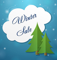 Paper applique fir tree and winter sale cloud vector