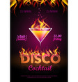 Disco background cocktail party poster vector