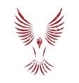 Red grunge bird logo vector
