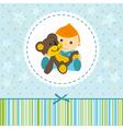 Baby boy keep a teddy bear vector