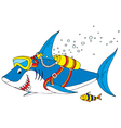 Shark diver vector