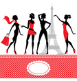 Set of silhouettes of fashionable girls vector