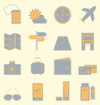 Travel color icons set on light background vector