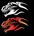 Dragon head on black background vector