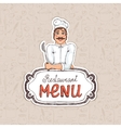Chef holding spoon on restaurant menu vector