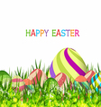 Happy easter eggs spring background with grass vector