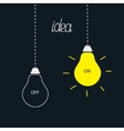 On and off bulbs in the dark idea concept flat vector