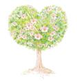 Tree spring heart vector