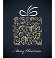 Vintage christmas gift box with retro ornaments vector