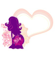 The pregnant girl in a flower abstract background vector